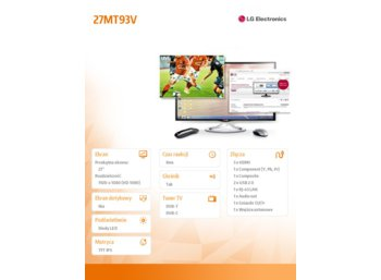 LG Electronics 27'' 27MT93V IPS TV 3D 250cd 5000000:1 HDMIx3