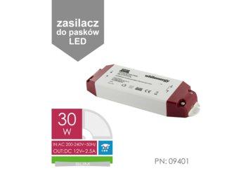 Whitenergy Zasilacz LED SLIM 230V|30W|12V