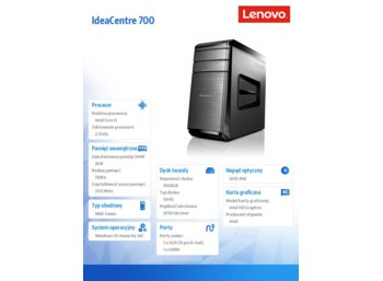 Lenovo IdeaCentre 700-25ISH 90ED004BPB Win10H i5-6400/8GB/1TB/UMA/DVD_RAMBO/USB K&M/Black 2YRS CI