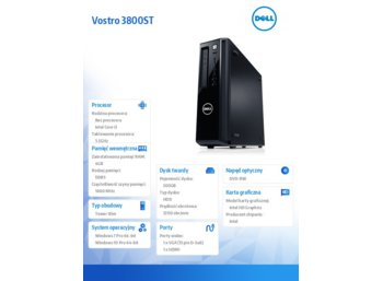 Dell Vostro 3800ST Win7/10Pro (64-bit win10, nosnik) i3-4170/500GB/4GB/DVDRW/Integrated/KB212-B/MS111/3Y NBD