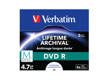 Verbatim M-DISC DVD R 4x 4.7GB 5P JC Printable 43821