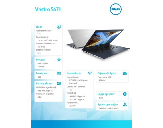 "Dell Vostro 5471 Win10Pro i5-8250U/256GB/8GB/INTel UHD 620/14.0""FHD/KB-Backlit/3-cell/Silver/3YNBD"