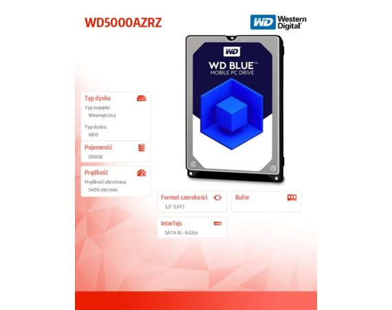 Western Digital Blue 500GB 3,5'' 64MB SATAIII/5400rpm