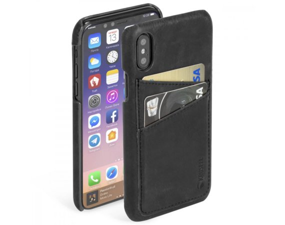 Krusell Etui Apple iPhone X Sunne 2 Card Cover Czarny