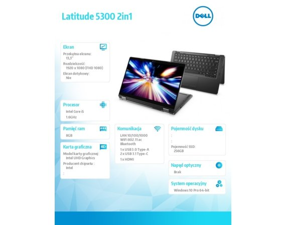 "Dell Notebook Latitude 5300 2in1 Win10Pro i5-8365U/256GB/8GB/Intel UHD 620/13.3""FHD/Touch/KB-Backlit/3Y NBD"