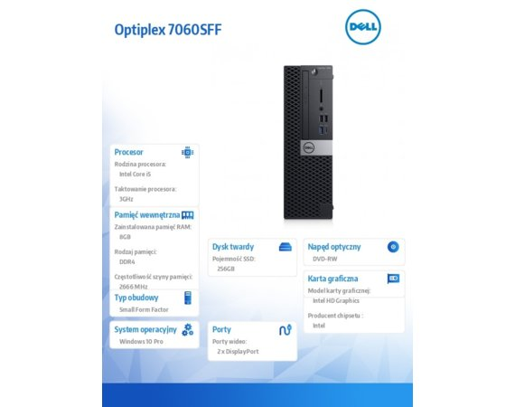 Dell Komputer Optiplex 7060SFF W10Pro i5-8500/8GB/256GB/Intel UHD 630/DVD RW/KB216/MS116/vPro/3Y NBD