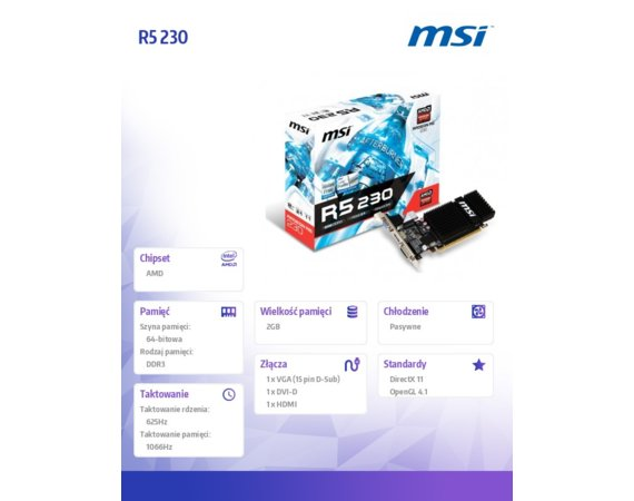 MSI Radeon R5 230 2GB DDR3 64B IT DVI-D/HDMI/HDCP