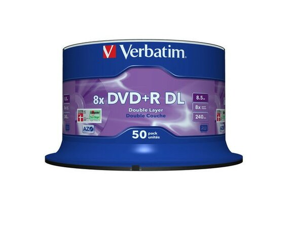 Verbatim DVD+R 8x 8.5GB 50P CB Double Layer 43758