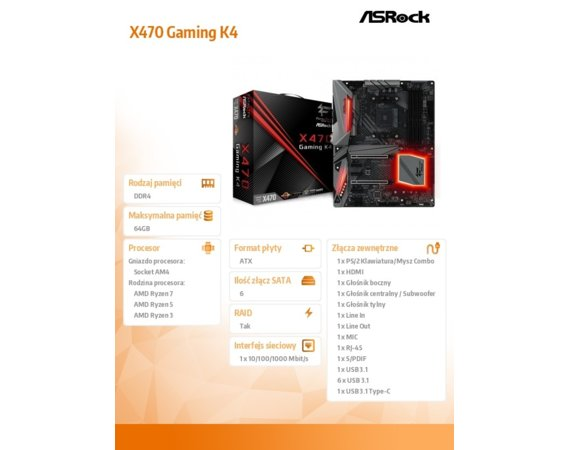 ASRock X470 Gaming K4 AM4 4DDR4 6SATA3/M.2 ATX