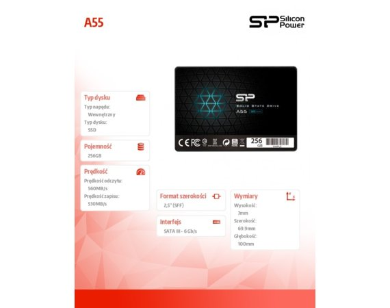 "Silicon Power Dysk SSD Ace A55 256GB 2,5"" SATA3 550/450 MB/s 7mm"