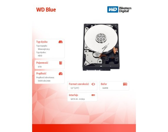Western Digital HDD 6TB WD60EZRZ Blue 64MB SATAIII/600 5400rpm