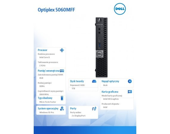 Dell Komputer Optiplex 5060MFF W10Pro i5-8500T/8GB/1TB/Intel UHD 630/WLAN + BT/KB216/MS116/3Y NBD