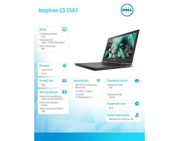 Dell Inspiron G5 5587 Win10Home i5-8300H/128GB/1TB/8GB/GTX 1050Ti/15.6 FHD/56WHR/Black/1Y PS+1Y CAR