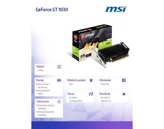 MSI Karta graficzna GeForce GT 1030 OC 2GB DDR4 64BIT HDMI/DP