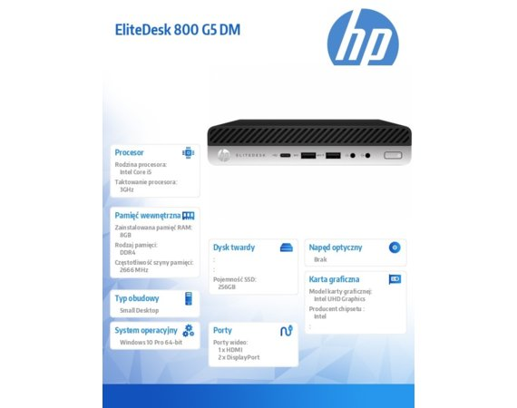 HP Inc. Komputer EliteDesk 800 G5 i5-9500 256/8GB/W10P     7PF42EA