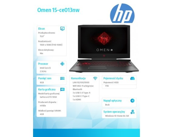 HP Inc. Notebook Omen 15-ce013nw i5-7300HQ 1TB/8G/W10H/15,6 2NM93EA