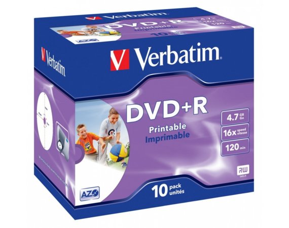 Verbatim DVD+R 16x JC 10P Printable photo    43508