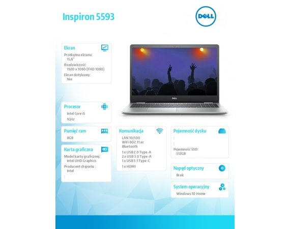 Dell Notebook Inspiron 5593 Win10Hom i5-1035G1/512/8/INT/Silver