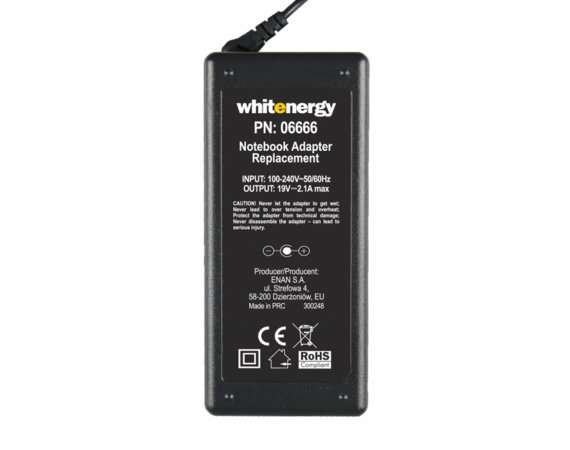 Whitenergy Zasilacz 19V | 2A 38W wtyk 5.5*3.0mm + pin 06666