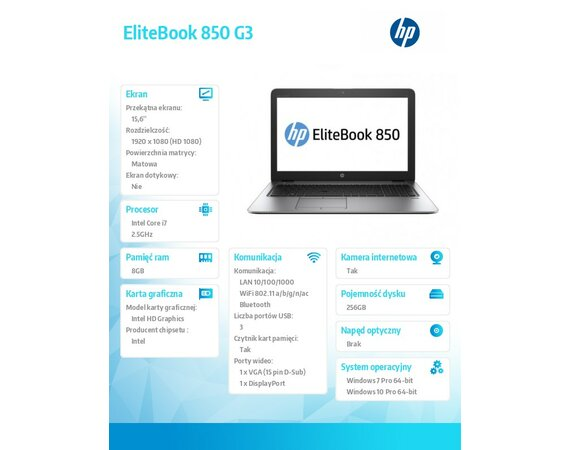 HP Inc. EliteBook 850 G3  T9X36EA