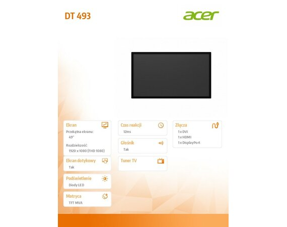 "Acer Monitor DT493 49"" LFD"