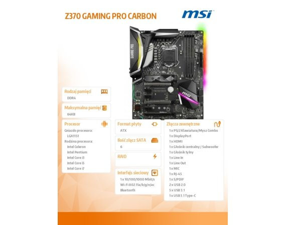 MSI Z370 GAMING PRO CARBON 4DDR4 8USB3/M.2 ATX
