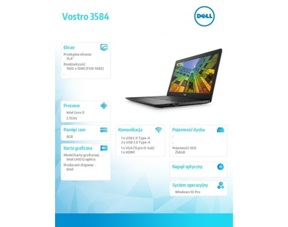 Dell Notebook 3584 Win10Pro i3-7020U/256/8/INT/15FHD