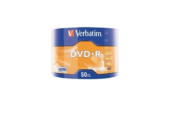 Verbatim DVD-R 16x 4.7GB 50P SP Matt Silver Wrap 43788