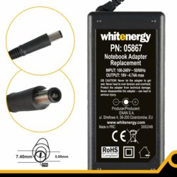 Whitenergy Zasilacz 19V | 4.74A 90W wtyk 7.4*5.0 mm + pin HP Compaq (05867)