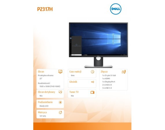 Dell Monitor 23 P2317H LED  Full HD (1920x1080) /16:9/HDMI(1.4)/DP(1.2)/VGA/5xUSB 3.0/5Y PPG