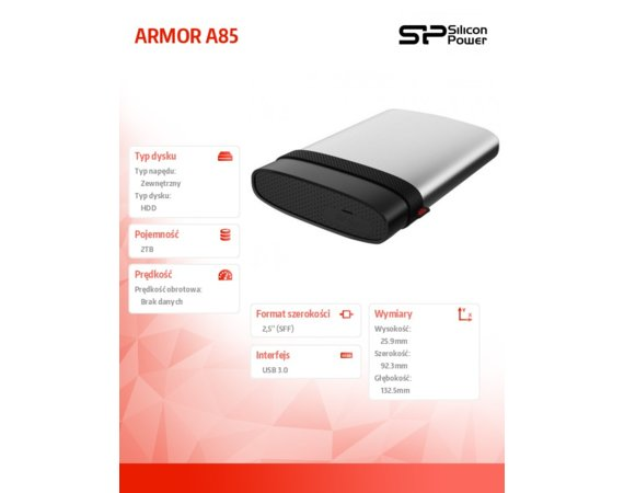 Silicon Power ARMOR A85 2TB USB 3.0 Blue, Anti-shock/water proof