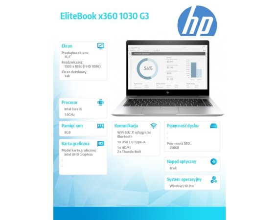 HP Inc. Notebook X360 1030G3 i5-8250U 256/8G/W10P/13,3 3ZH01EA