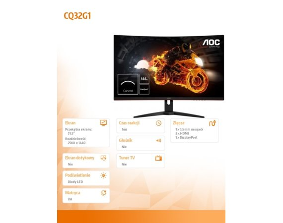 AOC Monitor CQ32G1 31.5 VA Curved 144Hz DP HDMIx2
