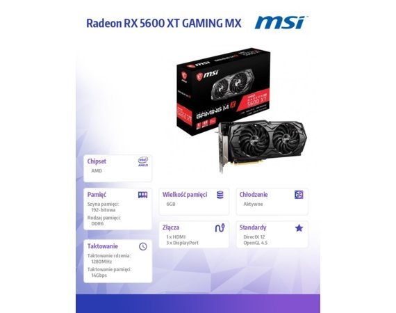 MSI Karta graficzna Radeon RX 5600 XT GAMING MX 6GB 192bit GDDR6 3DP/HDMI