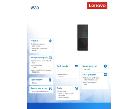 Lenovo Desktop V530-15ICB TWR 10TV0038PB W10Pro i3-8100/8GB/256GB/INT/DVD/3YRS OS
