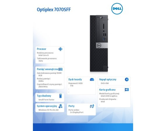 Dell Komputer Optiplex 7070 SFF W10Pro i5-9500/8GB/1TB/Intel UHD 630/DVD RW/KB216 & MS116/3Y BWOS
