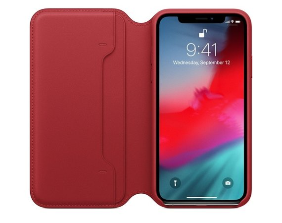 Apple Etui skórzane folio iPhone XS - (PRODUCT)RED