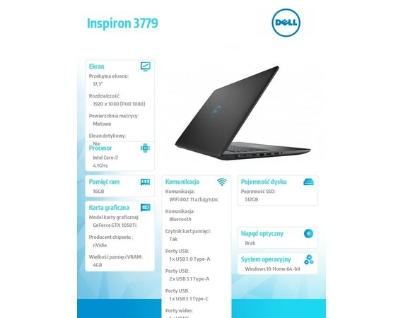 "Dell Inspiron 3779 Win10Home i7-8750H/512GB/16GB/GTX1050Ti/17.3""FHD/Black/KB-Backlit/56WHR/1Y Premium Support+1Y CAR"
