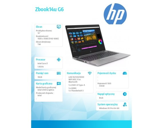 HP Inc. Notebook Zbook14u G6 i7-8565U 512/16/W10P/14  6TP72EA