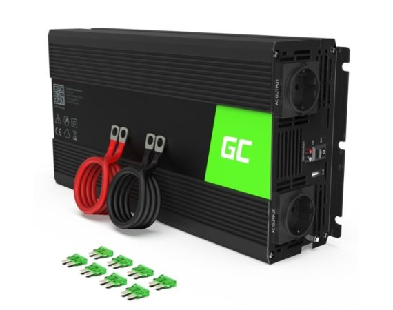 Green Cell Przetwornica 24V/230V 1500W/3000W Mod sinus