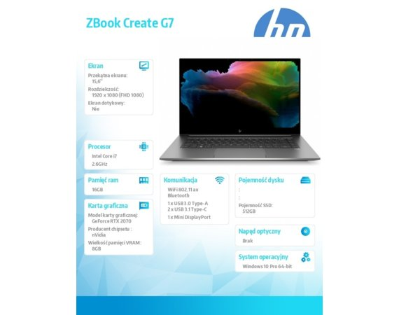 HP Inc. Notebook ZBook Create G7 W10P i7-10750H/512/16 1J3R9EA