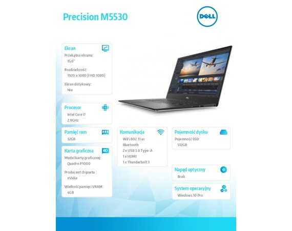Dell Laptop Precision M5530 Win10Pro i7-8850H/512GB SSD/32GB/P1000/15,6 FHD/vPro/3YNBD