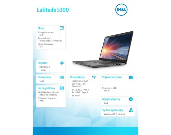 Dell Notebook Latitude 5300 Win10Pro i7-8665U/512GB/16GB/Intel UHD 620/13.3 FHD/KB-Backlit/4-cell/3Y BWOS