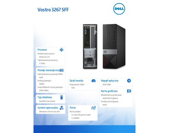 Dell Vostro 3267SFF Win10Pro i3-6100/1TB/4GB/Intel HD/MS116/KB216/3Y NBD