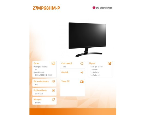 LG Electronics 27' 27MP68HM-P LED IPS HDMI
