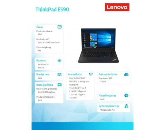 Lenovo Laptop ThinkPad E590 20NB002BPB W10Pro i5-8265U/8GB/512GB/INT/15.6 FHD/Black/1YR CI