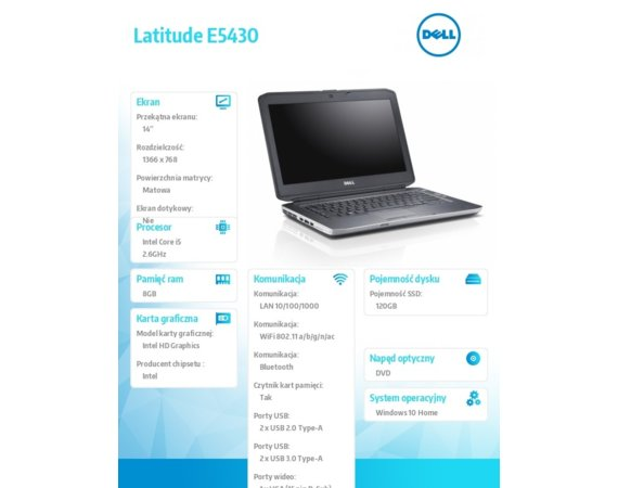 Dell Laptop poleasingowy Latitude E5430 / 14 / Intel i5-3320M / 8GB RAM / 120GB SSD  / USB 3.0 / Windows 10 Home MAR/ Mysz / Mcafee Internet Security / 1Y