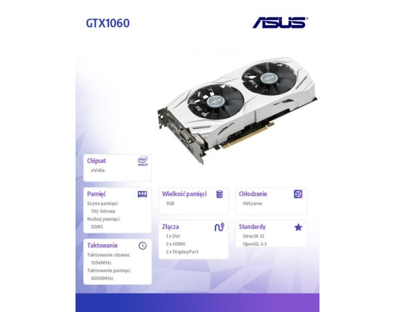Asus GeForce GTX 1060 DUAL 3GB DDR5 192BIT DV/HD/DP
