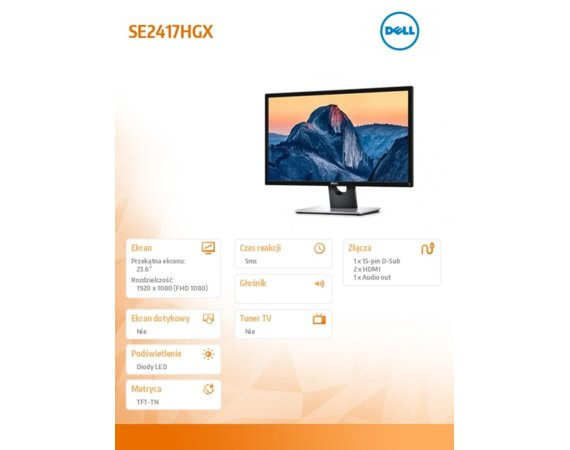 Dell Monitor SE2417HGX 24 LED 1920x1080/HDMI/VGA