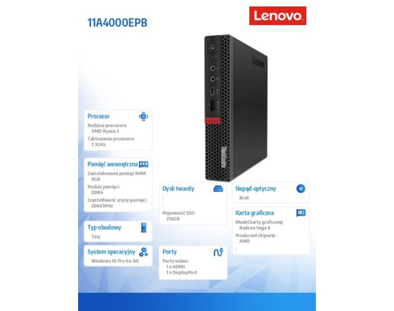 Lenovo Komputer ThinkCentre M75q-1 Tiny 11A4000EPB W10Pro 3200GE/8GB/256GB/INT/3YRS OS